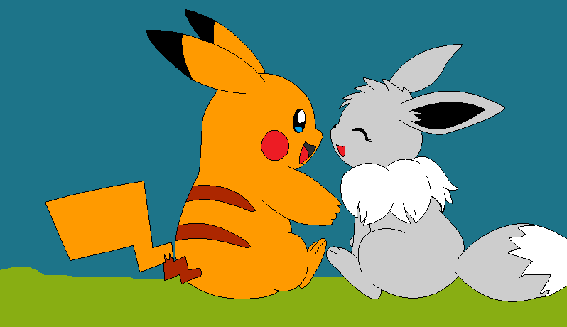 shiny eevee and shiny pikachu by BloodySilverKitsune on ...