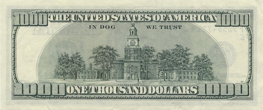 1000 dollar bill. 1000 Dollar Bill back by