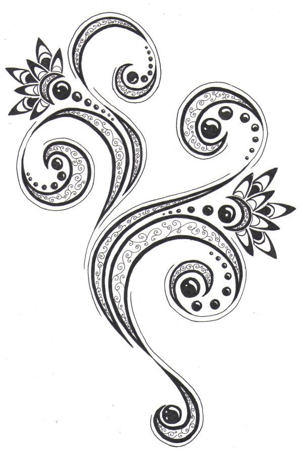 flower patterns for tattoos. Floral pattern - flower tattoo