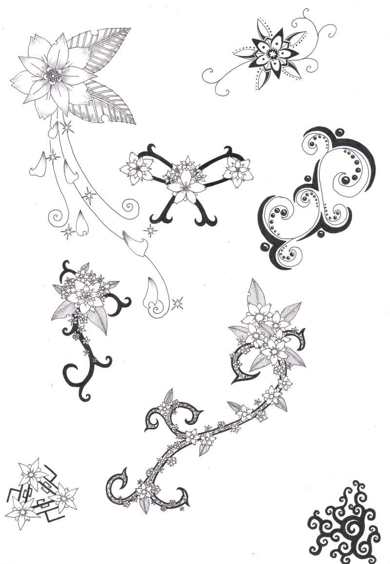 Flower Tattoo Designs 4 by crazyeyedbuffaloSimple Tribal Flower Tattoos