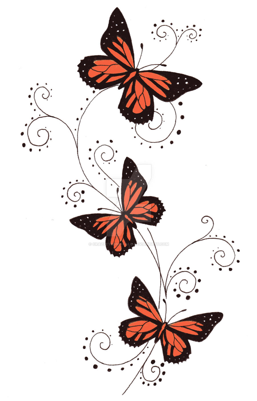Orange butterfly swirls by crazyeyedbuffalo
