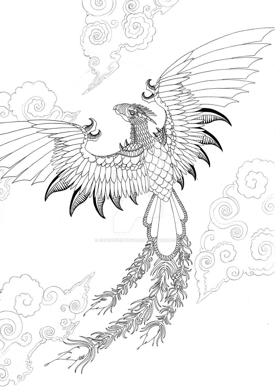 Dragon Phoenix Outline By Crazyeyedbuffalo On DeviantArt