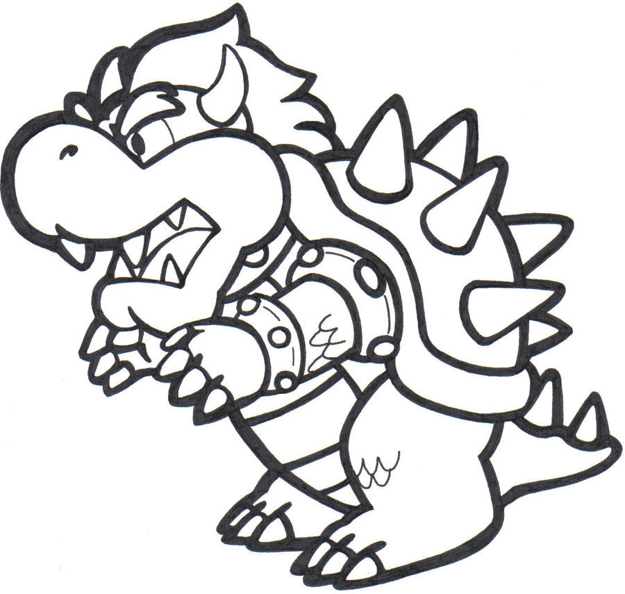 paper mario bowser coloring pages - photo#1