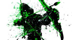 Green Arrow Splatter Paint by IAmATroyMClure
