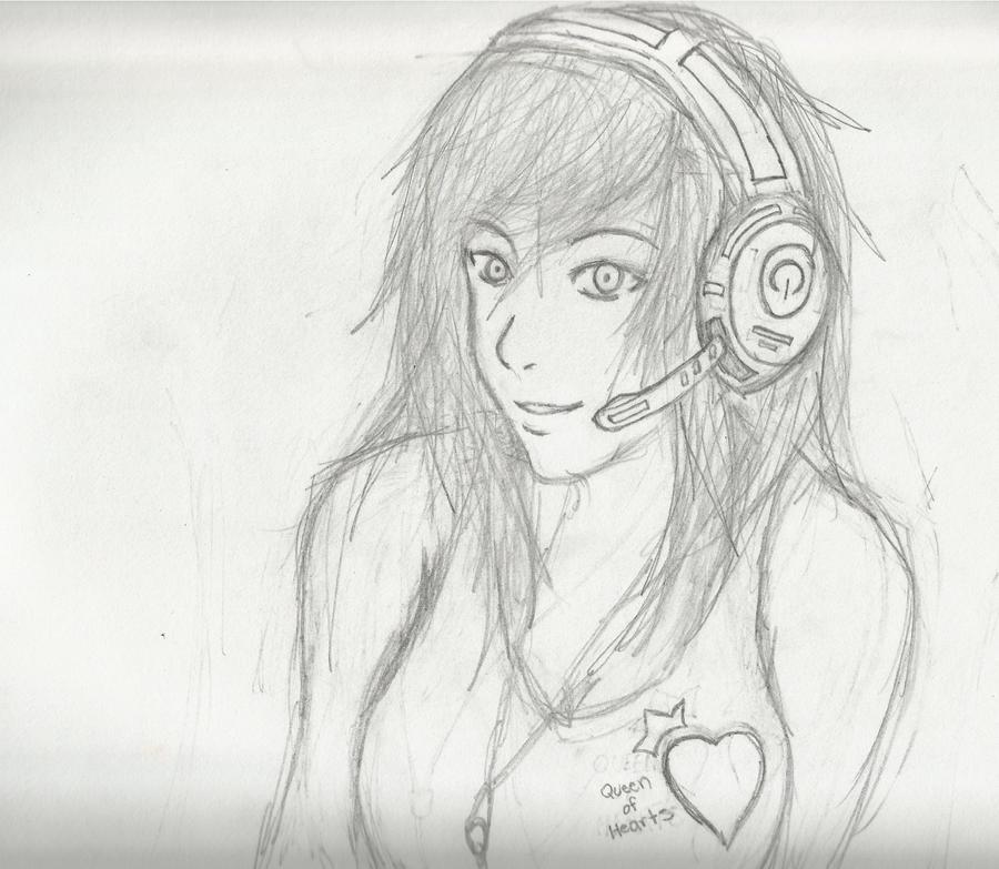 Headphones Girl by Demon-Shinob1