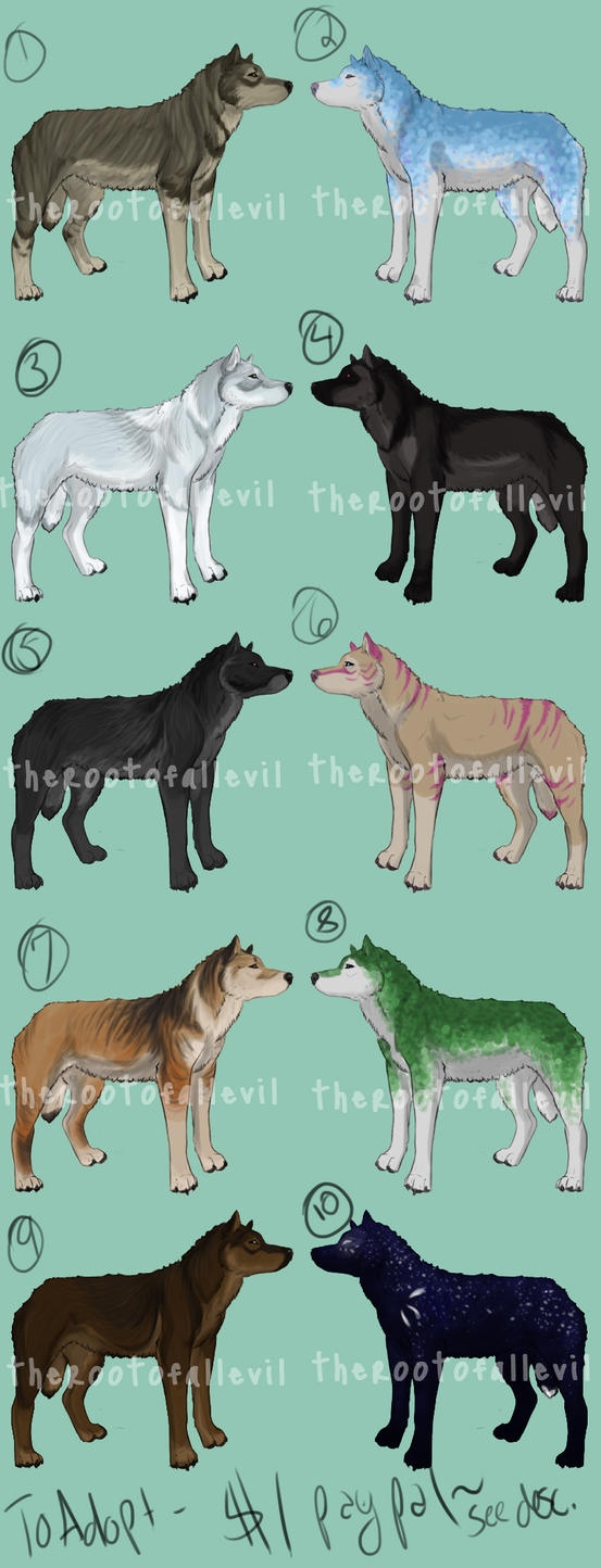 Wolf Adoptables 4 by TheRootOfAllEvil