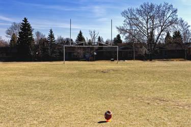 Football on Tee Goal Post 1