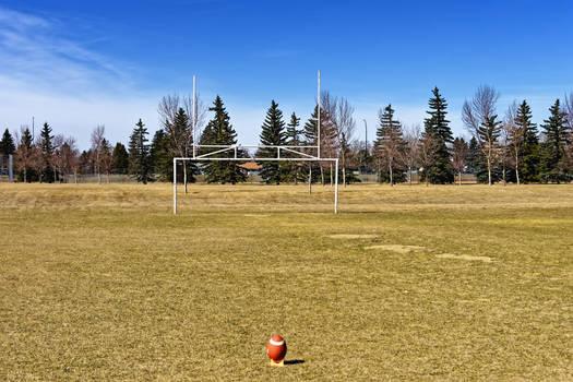 Football on Tee Goal Post 2