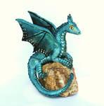 Blue Morpho Dragon on Petrified Wood