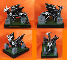 Skeledragon with graves by GabriellesBabrielles