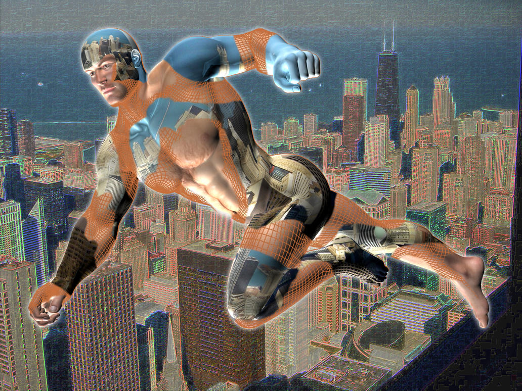 Flying Man over Neon City 3 by Kiel-Basastrony