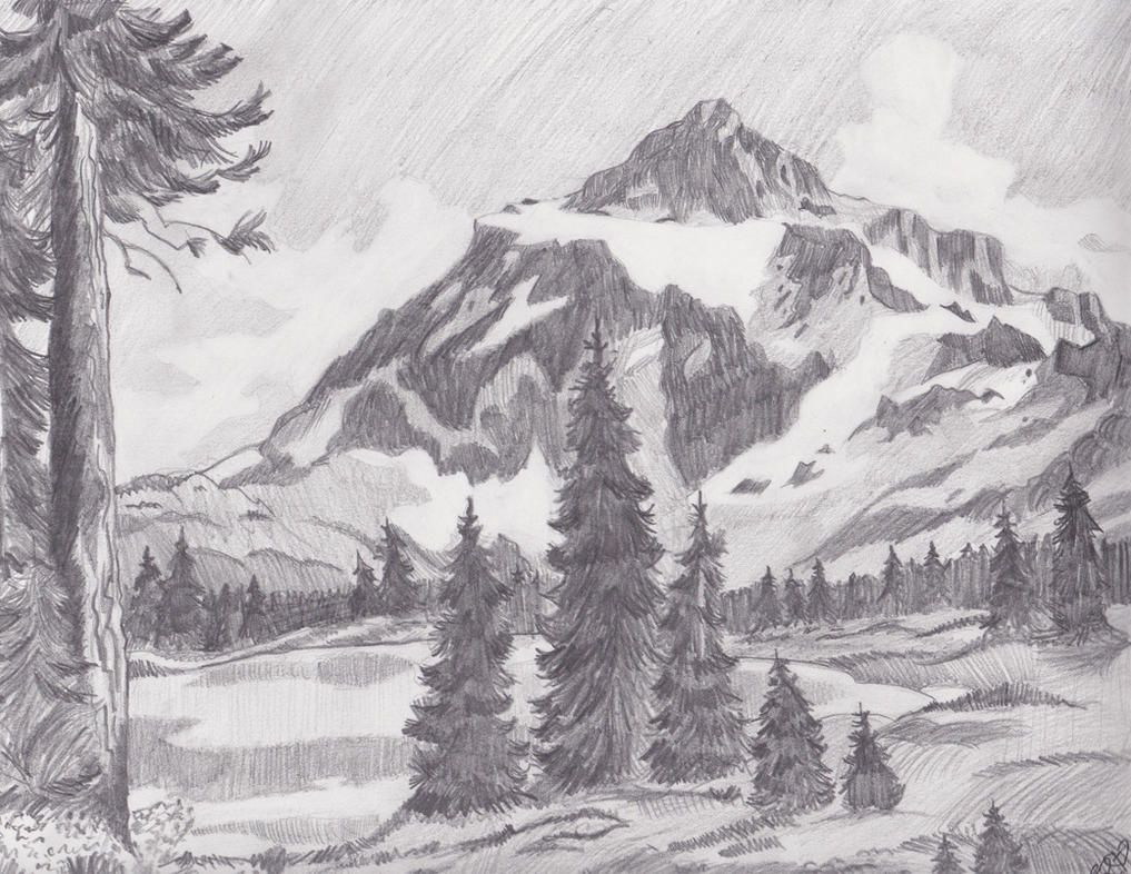 Line Drawing Landscape : Mountain landscape by melmo on deviantart