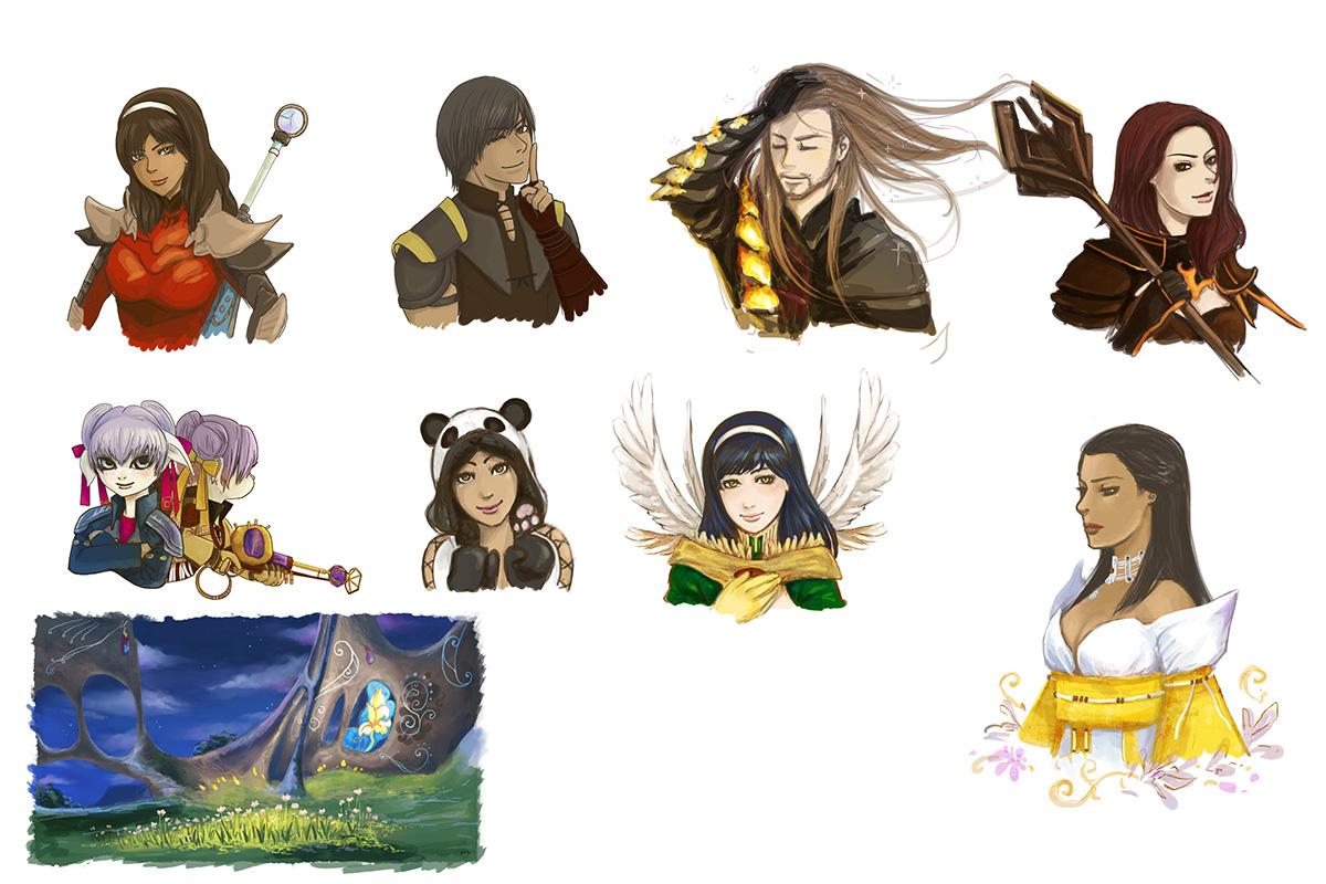 Guild Wars 2 sketches by Vassantha