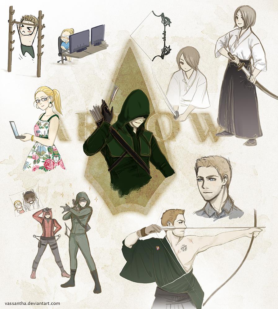 Arrow manga sketches by Vassantha