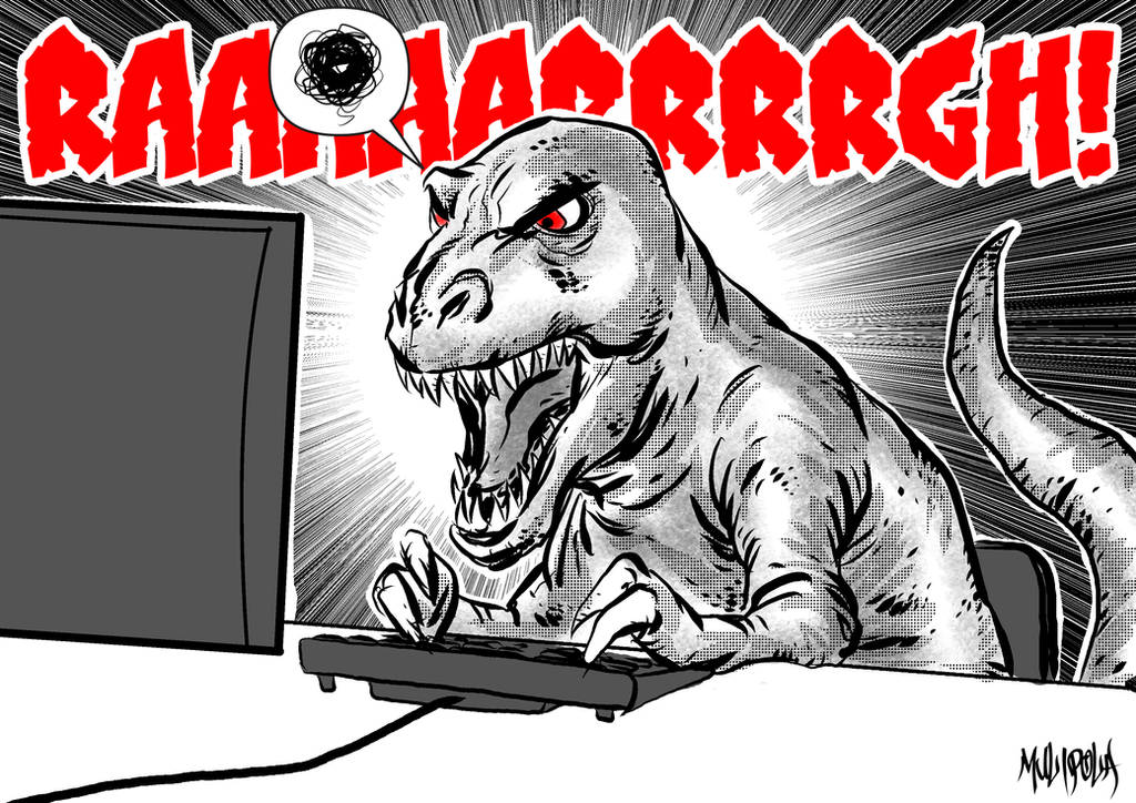 Frustrated T-Rex typing by BloodySamoan