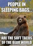 People in sleeping bags...