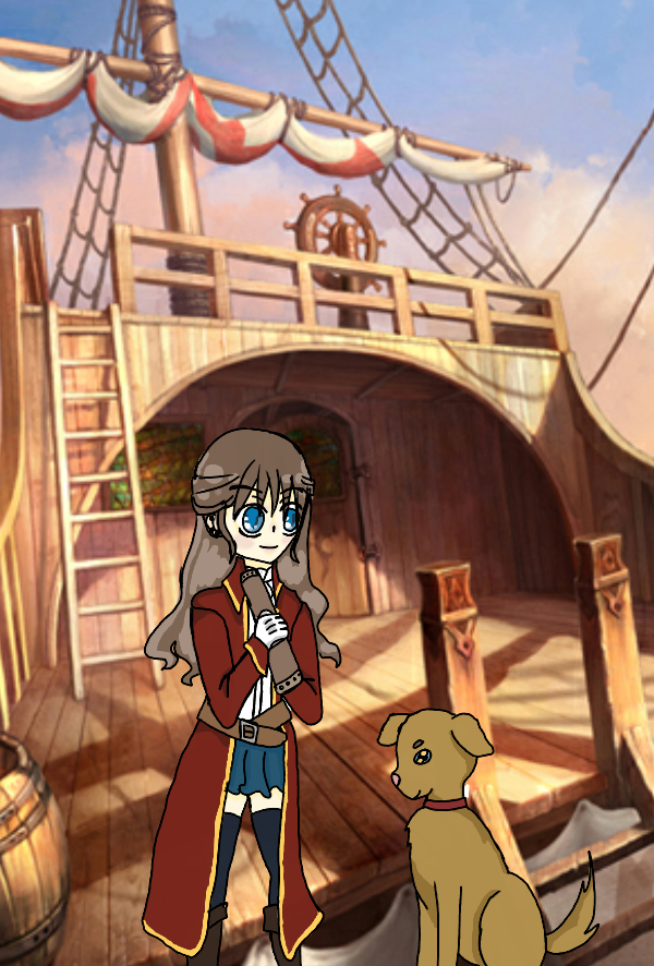 Pirate girl and puppy by Darkittycat13