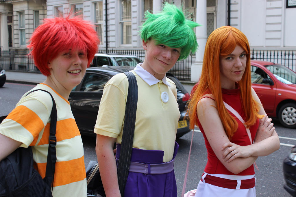 Phineas, Ferb and Candace (LFCC 2014) by Cubie-Panda