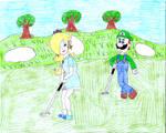 Luigi and Rosalina on a green