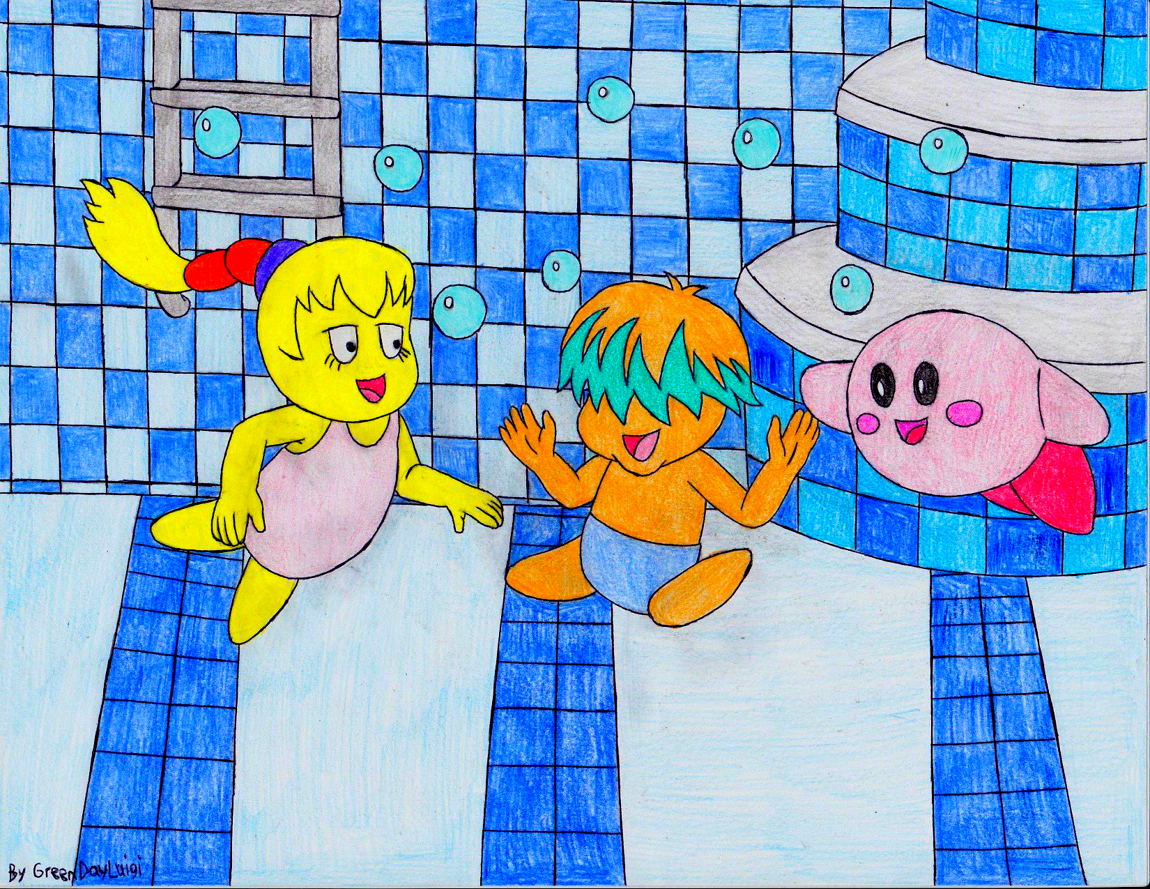 kirby tiff and tuff in a pool request by greendayluigi on deviantart