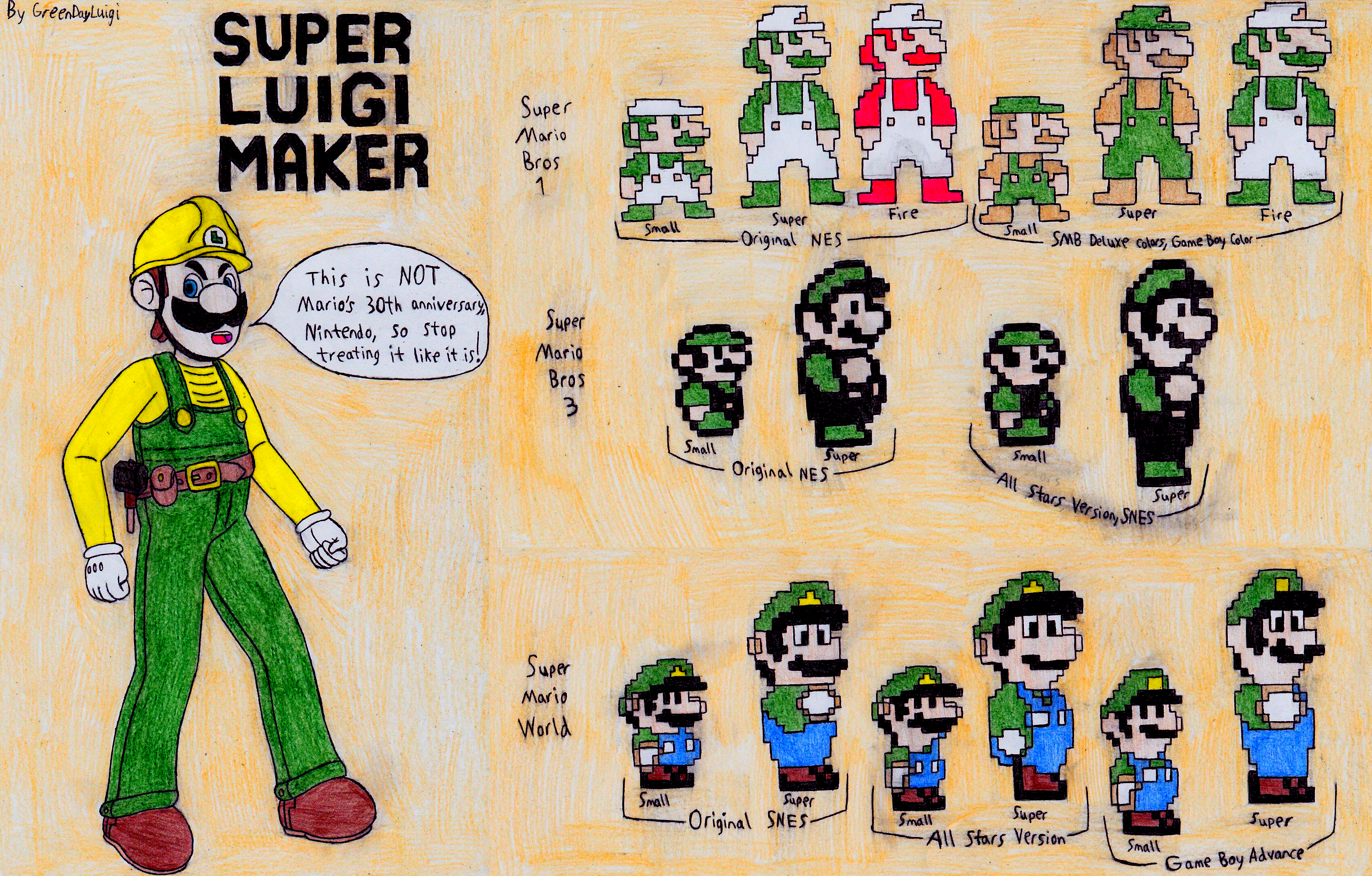Luigi Sprites For Super Mario Maker By Greendayluigi On Deviantart