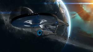 U.S.S. Enterprise NCC-1701 (leaving Orbit)