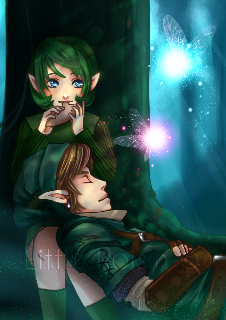 Saria and Link by Little-Roisin