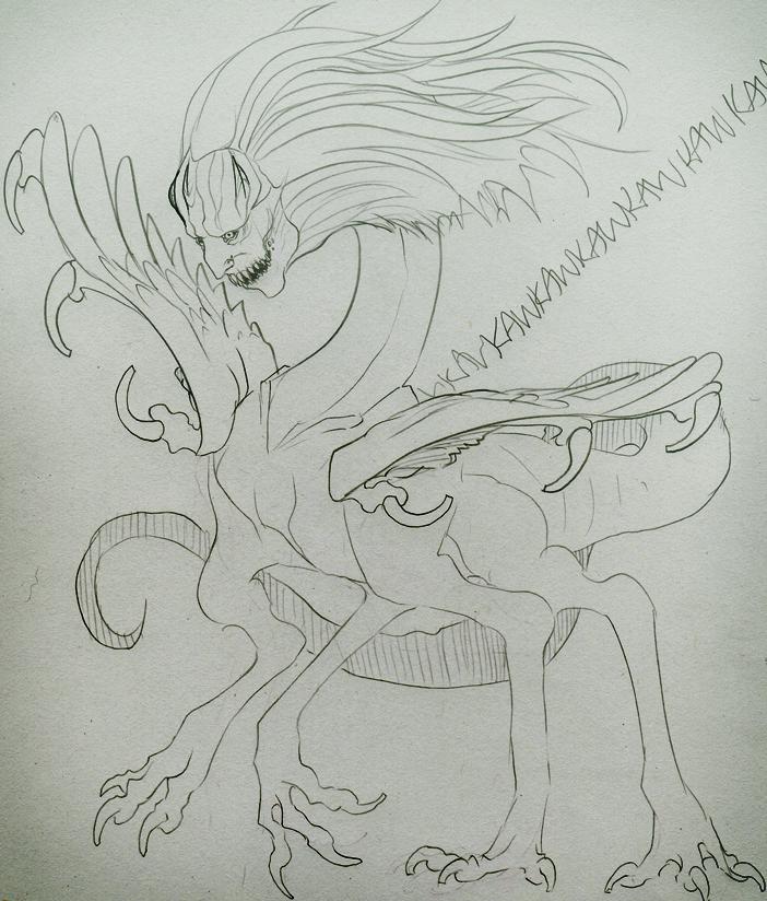 Weird Fourlegged Birdman by CosmicVirus