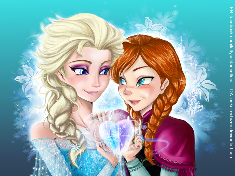 Anna And Elsa Turning Away From Each Other Coloring Page