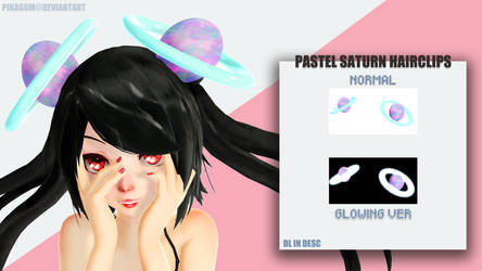 [MMD DL] PASTEL SATURN HAIRCLIPS by Pikagum
