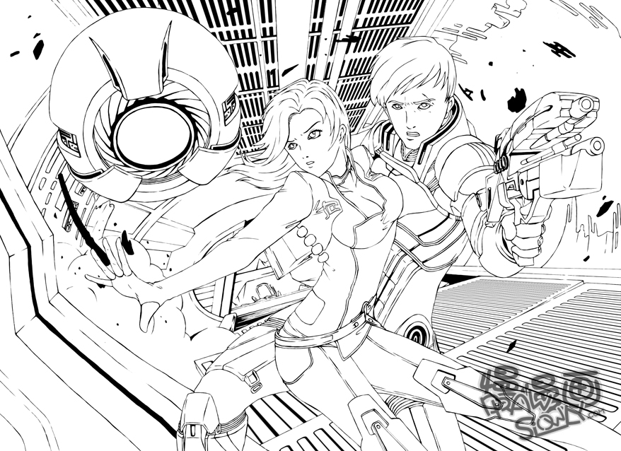 Line Art Effect : Mass effect fan art by drawslowly on deviantart