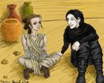 Star Wars TFA Reylo 'Relaxing on Jakku' by minamsfallenangel