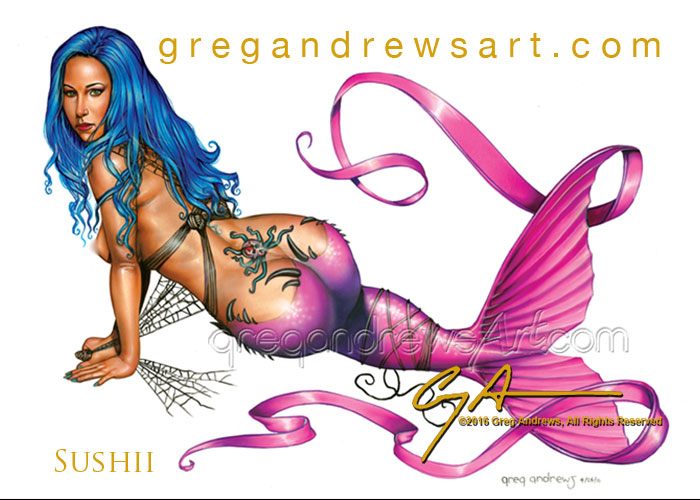 Sushii Fantasy Pinup Mermaid By Greg Andrews By Greg