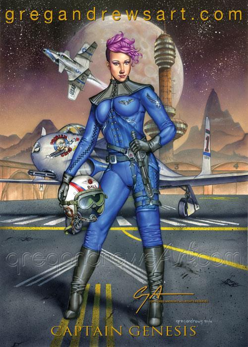 Captain Genesis Sexy Fanasy Scifi Anime Steampunk  by Greg-Andrews-Art