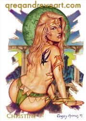CHRISTINE Sexy Fantasy Pinup Greg Andrews Artist by Greg-Andrews-Art