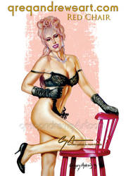 RED CHAIR Sexy Pinup Art Greg Andrews Artist by Greg-Andrews-Art