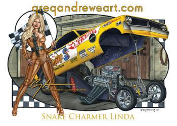 Snake Charmer Linda Sexy Dragster Art Greg Andrews by Greg-Andrews-Art
