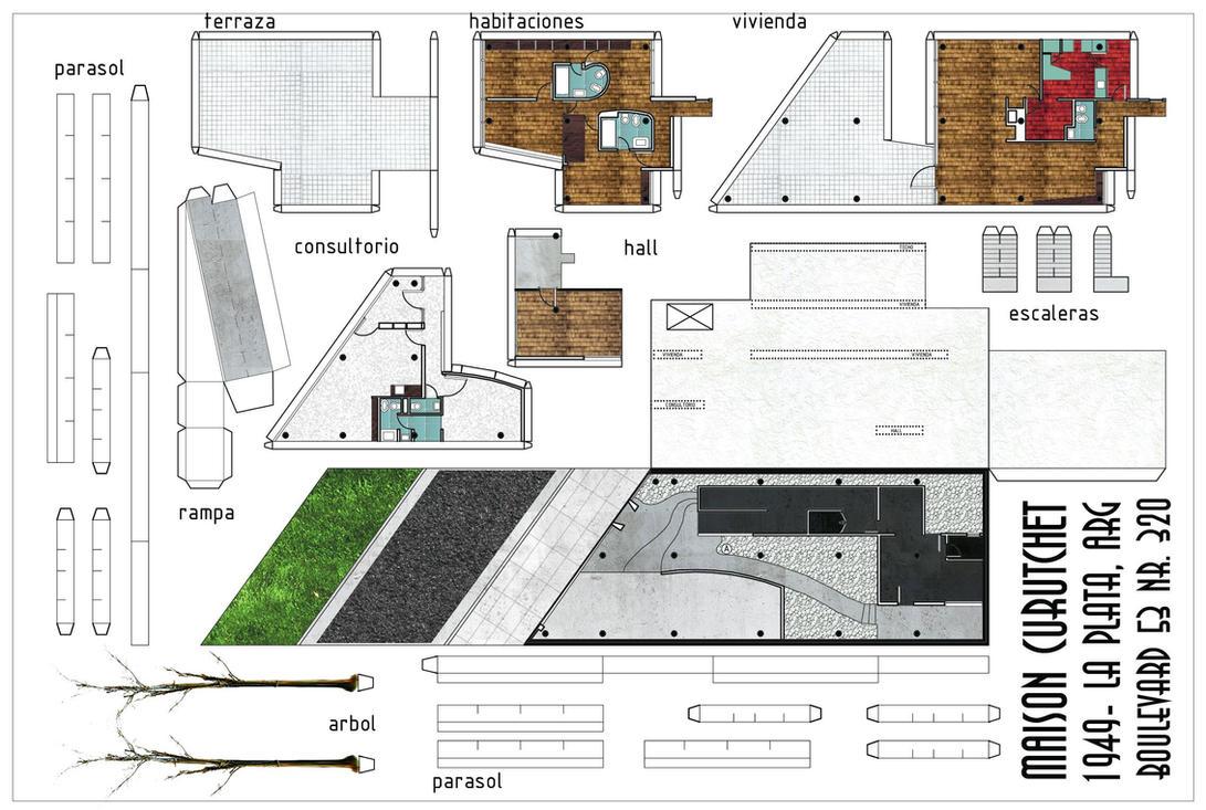 Maison curutchet paper model by fgarrido on deviantart for Model architecture maison