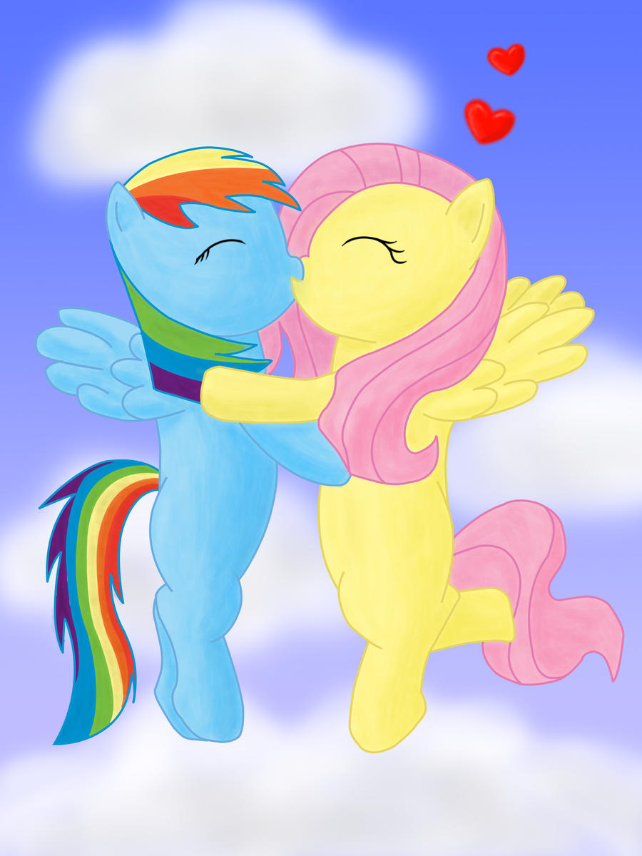 Rainbow Dash and Fluttershy kissing by Infera1 on DeviantArt