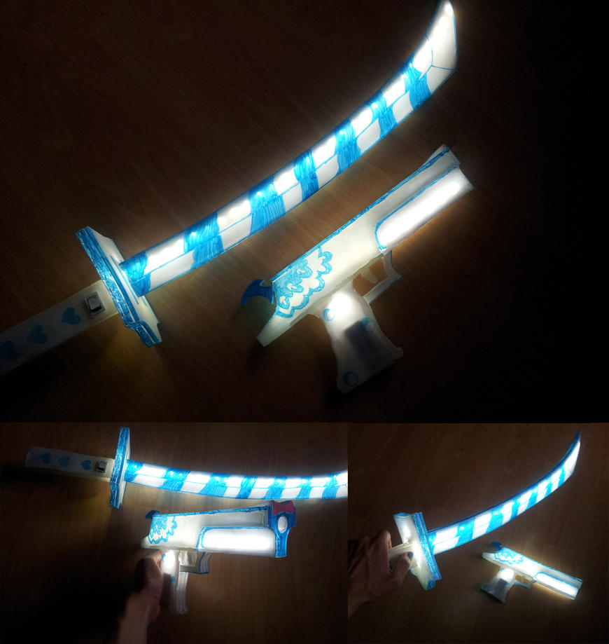 Panty and stocking glowing gun and sword by Infera1