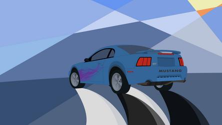 Azure Blue Mustang Wallpaper 1