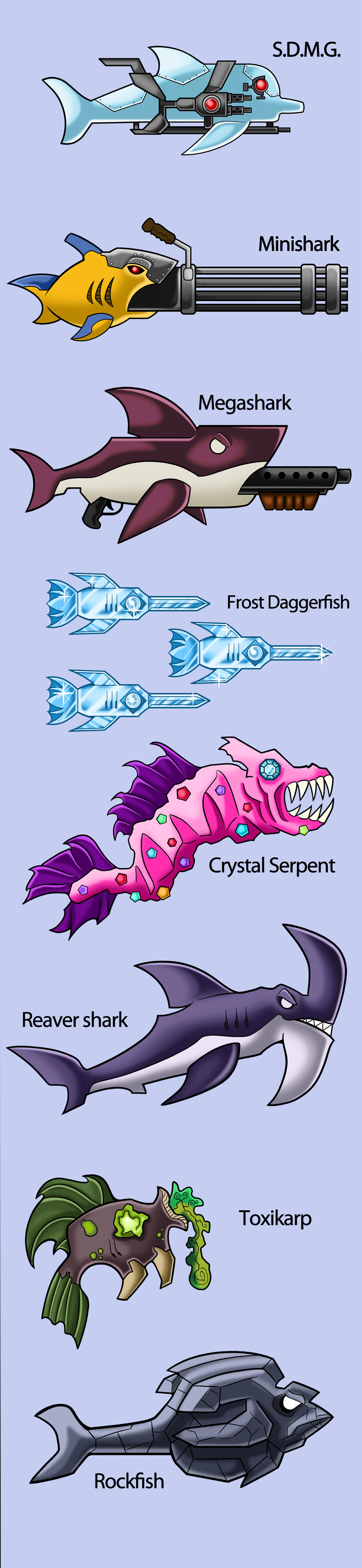 Terraria- Fish weapons + tools by MechanicalFirefly on