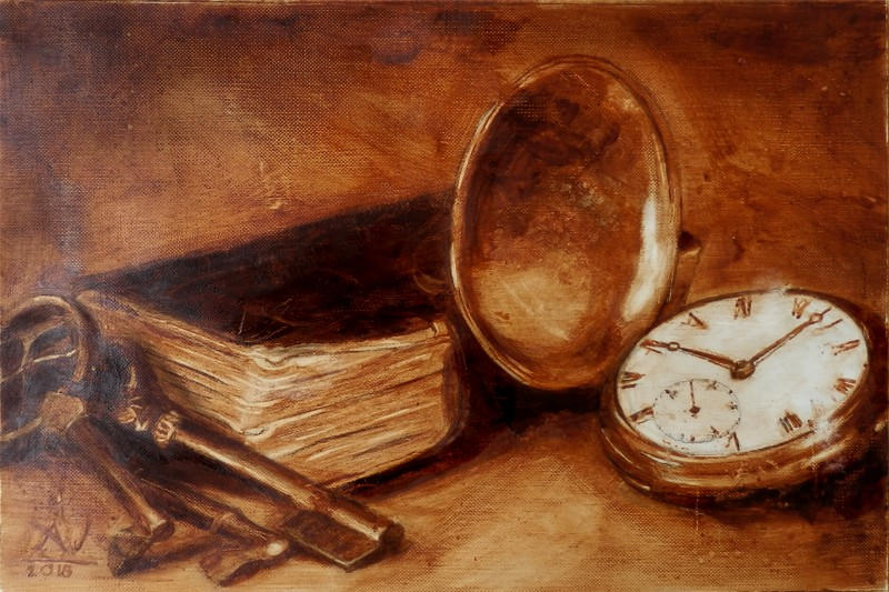 Still Life with Clock, Book, and Keys