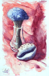 Still life with lavender and a sea shell