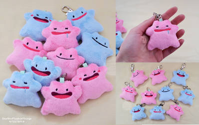 Ditto Plush Keychains by SewYouPlushieThings
