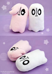 Squeaky Napstablook and Happstablook plushies by SewYouPlushieThings