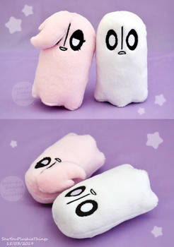 Squeaky Napstablook and Happstablook plushies