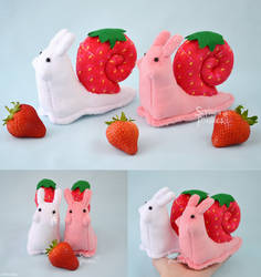 Strawberry Snail Plushies
