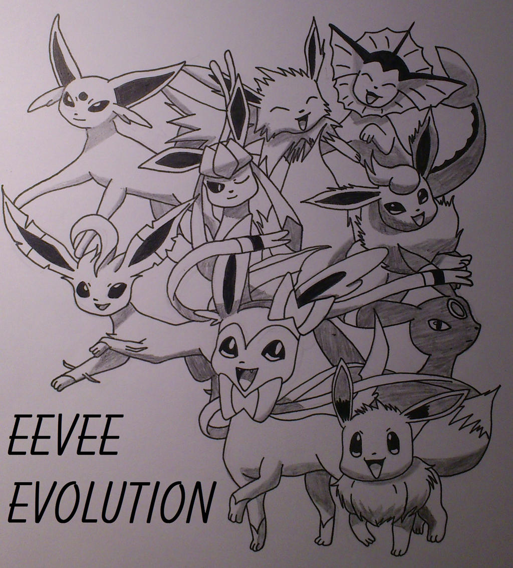 Coloring Pages Eevee Evolutions Together