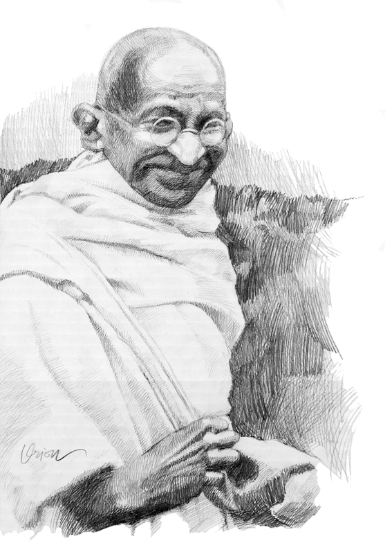 Gandhiji pencil-drawn by orioncreatives